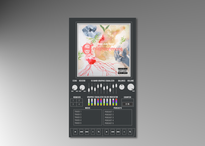 Music Player inspired by 1980s boombox.