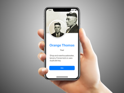 Hand holding an iPhone X with the app that says Orange Thomas, Theif, and you have the option to hire him.