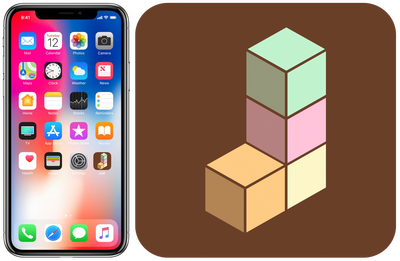Icon with the letter J made out of colored blocks and an iPhone X with the icon on the homescreen