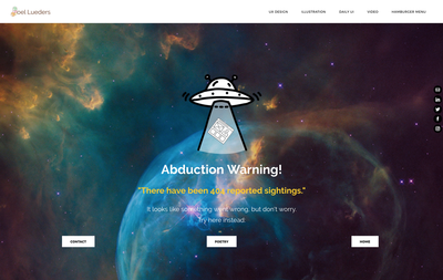 "404 Page with image of a UFO abducting a webpage. The words ""abduction warning! there have been 404 reported sightings."""