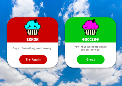 Error and Success messages with happy and excited cartoon cupcakes.