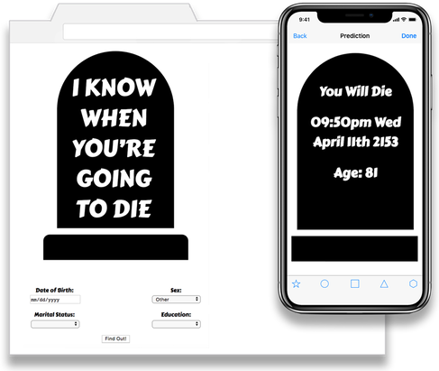 Desktop and Mobile views of the I Know When You're Going To Die web app.