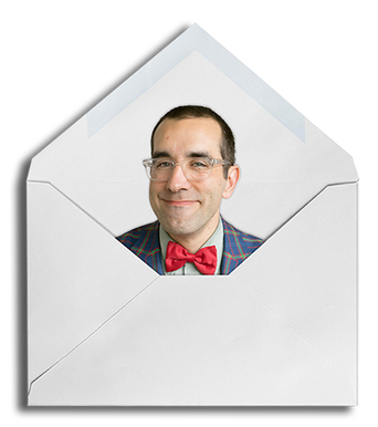 Picture of Joel inside an envelope dressed in a suit with a red bowtie