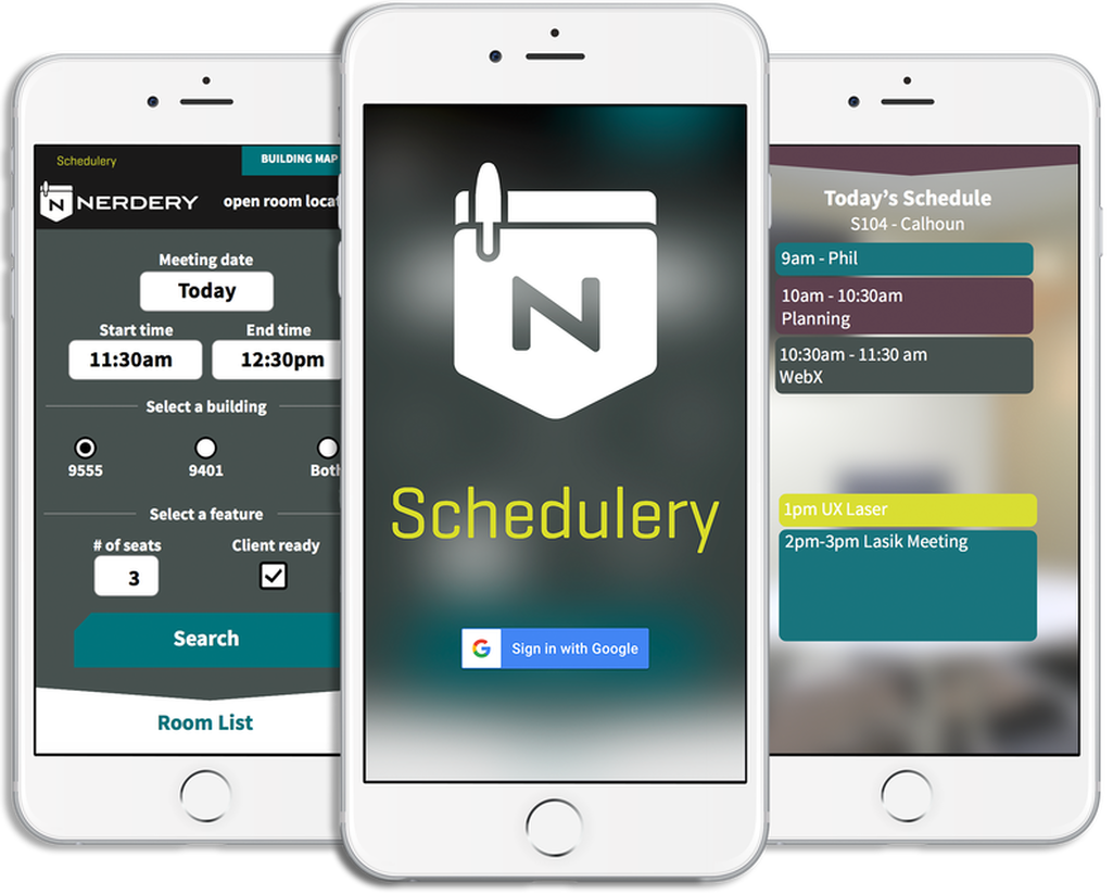 Three views of the Nerdery Scheduling app.