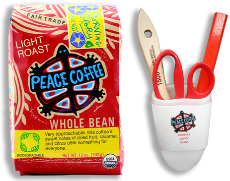 Redesigned bag of Peace Coffee and Grinder Toolkit with pencil, brush, and scissors.