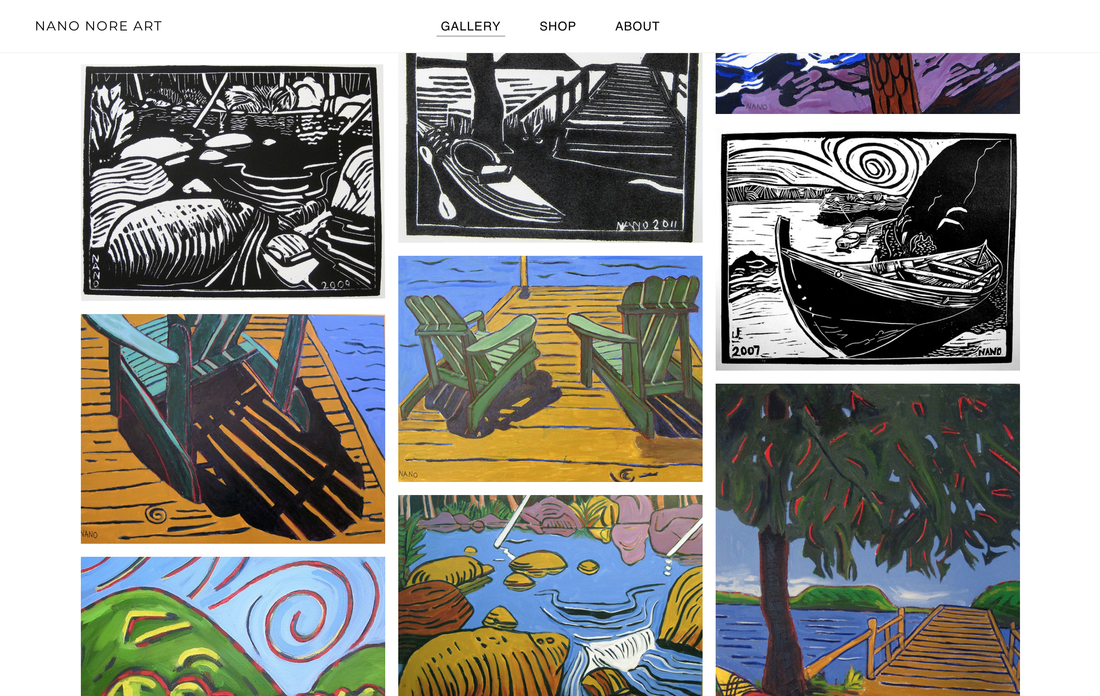 Screenshot of Nano Nore Art website. Many colorful paintings and bold printmaking prints of boats and chairs.