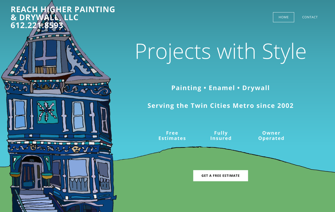 Screenshot of Reach Higher Painting and Drywall's website. An illustration of a blue Victorian house and the words